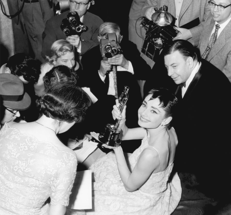 Audrey Hepburn after winning an Oscar for Roman Holiday, NBC via Getty Images | RED CARPET MAKEUP SECRETS | VIOLET GREY, The Industry's Beauty Edit